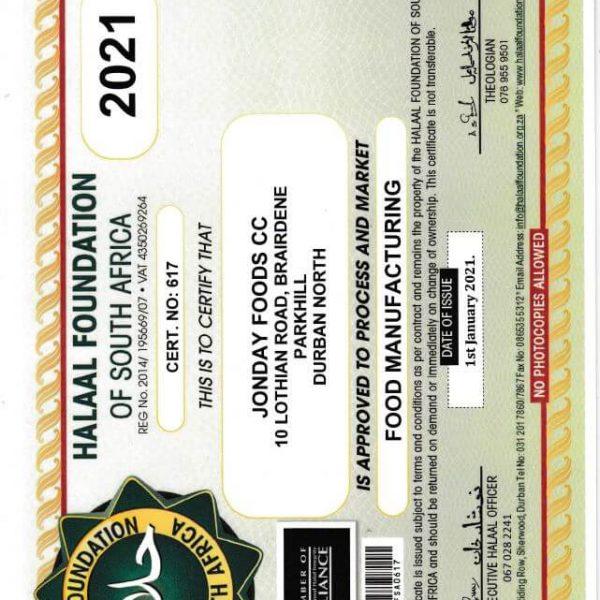 Halaal Certificate 2021